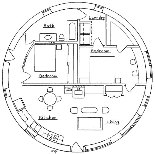 Two bedroom roundhouse Round house plans floor plans